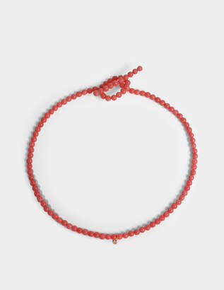 Saskia Diez Salmon Holiday N°3 Choker Necklace in 18K Gold-Plated Silver and Coral Pearls