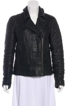 AllSaints Quilt-Accented Leather Jacket