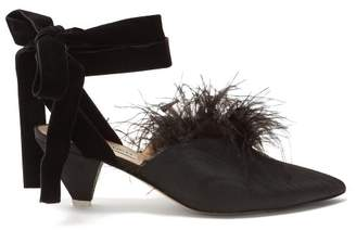 ATTICO Marabou Feather Mid Heel Pumps - Womens - Black