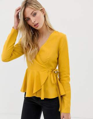 Asos Design DESIGN long sleeve wrap top in linen with pephem