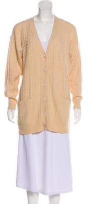 Neiman Marcus Cashmere Cable Knit Button-Up Cardigan
