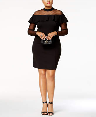 Love Squared Trendy Plus Size Illusion Ruffled Bodycon Dress