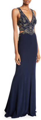 Faviana Jersey Beaded Gown w/ Side Cutouts