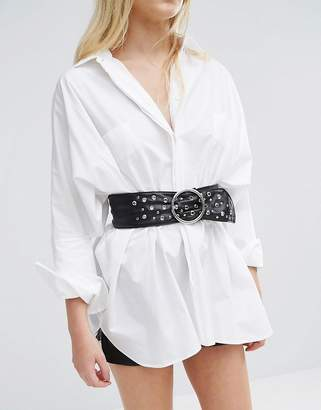 Asos Eyelet And Stud Wide Waist Belt