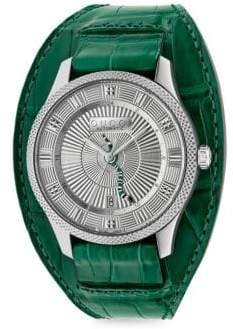 Gucci Eryz Round Stainless Steel Emerald Alligator Leather Cuff Watch