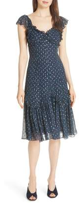 Rebecca Taylor Speckled Dot Silk Blend Fit & Flare Dress