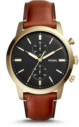 Fossil Townsman 44mm Chronograph Light Brown Leather Watch