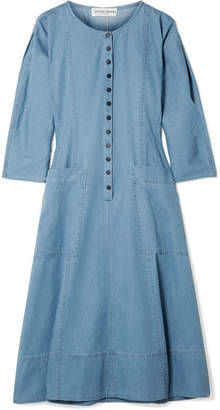 Apiece Apart Fernwood Cotton-chambray Midi Dress - Blue