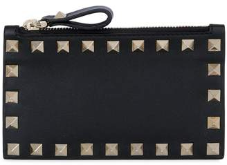 Valentino Rockstud Leather Zip Card Holder