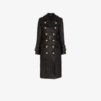 Balmain quilted double-breasted leather trench coat