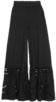 Vix Pointelle-Paneled Knitted Wide-Leg Pants $210 thestylecure.com