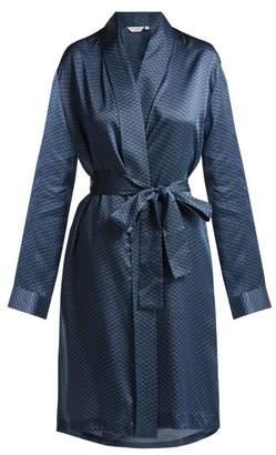 Derek Rose Brindisi 26 Silk Satin Kimono - Womens - Navy