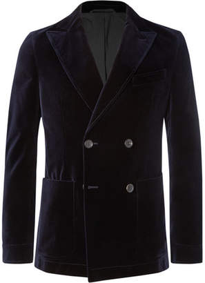Oliver Spencer Midnight-Blue Double-Breasted Cotton-Velvet Blazer