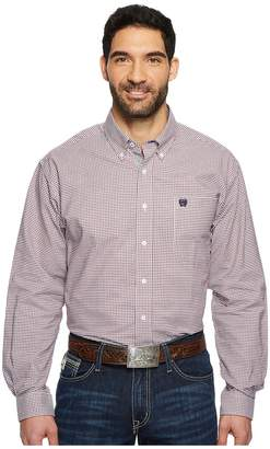 Cinch Long Sleeve Oxford Weave Plaid Men's Long Sleeve Button Up