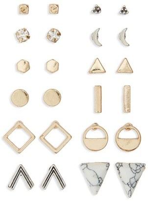Junior Women's Bp. Geometric Stud Earrings (Set Of 12) $19 thestylecure.com