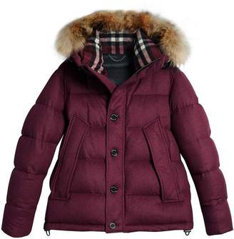 Burberry Short Detachable Fur Trim Cashmere Puffer Jacket