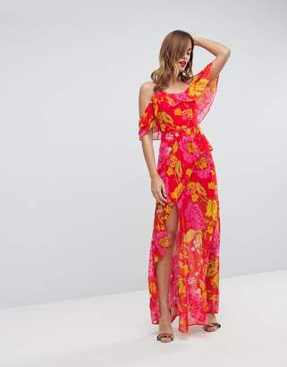 Asos DESIGN Ruffle Cami Maxi Dress in Bright Floral Print