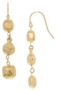 Lord & Taylor 14K Yellow Gold Oval Bead Dangle Earrings