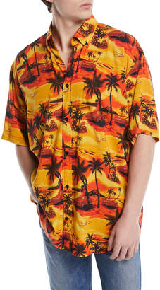 Balenciaga Oversized Viscose Hawaiian Shirt