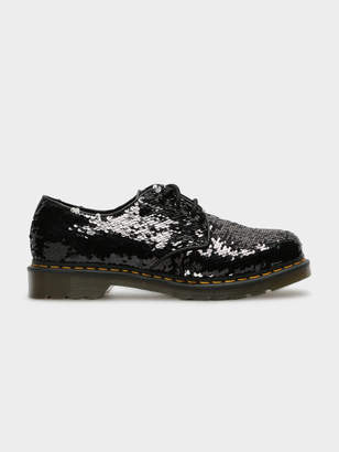Dr. Martens Womens 1461 Reversible Sequin Shoes in Black Silver