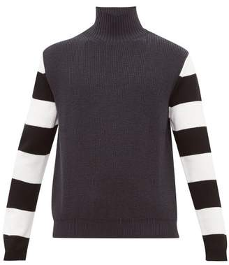 Paul Smith Striped Sleeve Funnel Neck Wool Sweater - Mens - Grey Multi