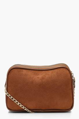 boohoo Suedette Dual Compartment Cross Body