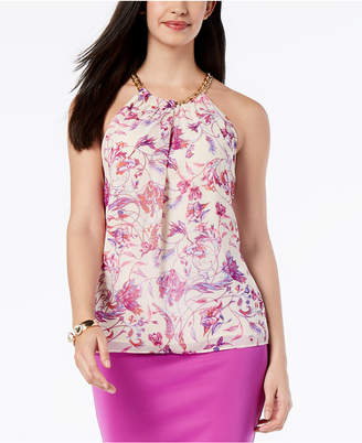 Thalia Sodi Printed Chain-Neck Top, Created for Macy's