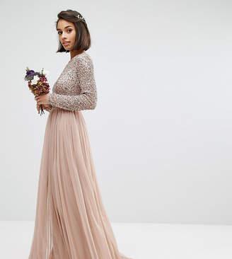 Maya Petite Long Sleeve Sequin Top Maxi Tulle Dress