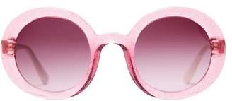 Miu Miu Oversized Glitter Acetate Sunglasses - Womens - Pink