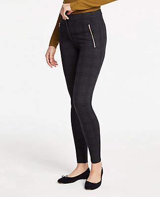 Ann Taylor Plaid Zip Pocket Leggings