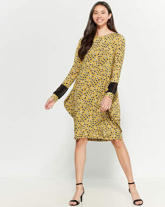 Save the Queen Printed Mesh Cuff Shift Dress