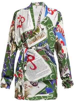 Vivienne Westwood Leticia Card Print Silk Wrap Blouse - Womens - Multi