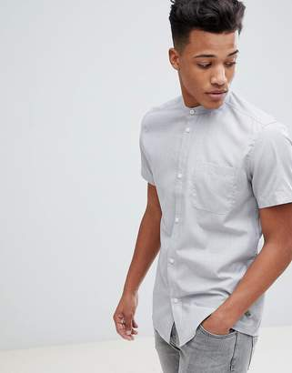 Solid Short Sleeve Grandad End on End Regular Fit Shirt