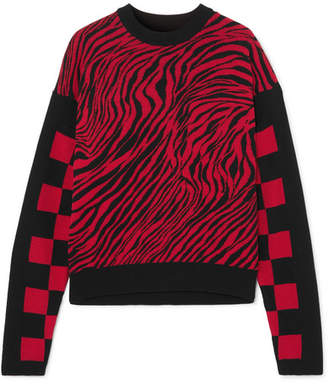McQ Ribbed Knit-paneled Intarsia Cotton-mesh Sweater - Red