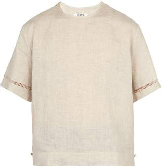 BEIGE Hecho - Deshilado Embroidered Linen T Shirt - Mens
