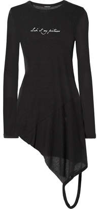 Ann Demeulemeester Asymmetric Printed Ribbed Jersey Top - Black