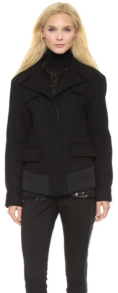 Vera Wang Collection Cropped Trench Jacket