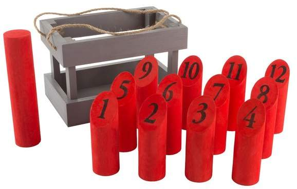 Hey! Play! Red Wooden Molkky Throwing Game