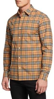 Burberry Men's George Check Sport Shirt, Beige