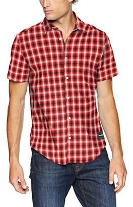 Calvin Klein Men's Short Sleeve Nebraska Plaid Button Down Shirt