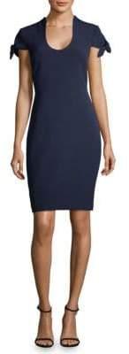 Badgley Mischka Peek-a-boo Tie Cap-Sleeve Dress