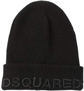 DSQUARED2 Logo Embroidered Wool & Cashmere Beanie