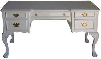 One Kings Lane Vintage White Lacquered Desk - Vintage Bella Home