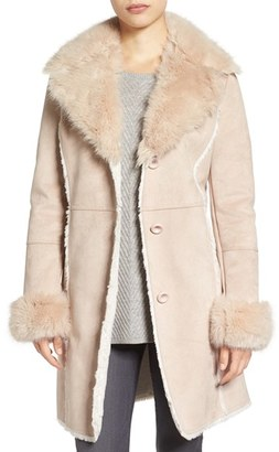 Women's Tahari Faux Shearling & Faux Fur Coat $298 thestylecure.com