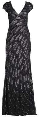 Basix II Black Label Cap-Sleeve Sequin Beaded Gown
