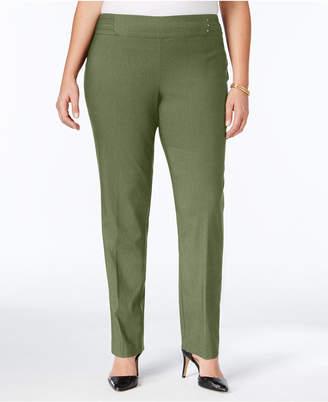 JM Collection Plus & Petite Plus Size Tummy Control Slim-Leg Pants