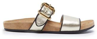 Prada Double Strap Leather Sandals - Womens - Gold