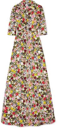 Erdem Karissa Floral-print Cotton-poplin Gown - Yellow