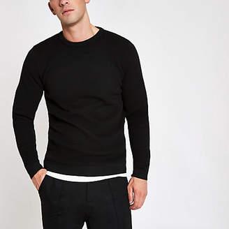 River Island Black textured slim fit crew neck sweater