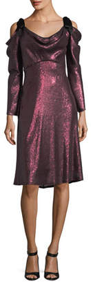 Tadashi Shoji Long-Sleeve Draped Sequin Cocktail Dress